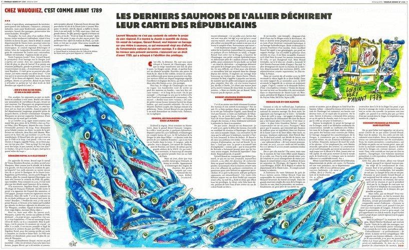 Dossier Charlie Hebdo consacré à la microcentrale de Chanteuges